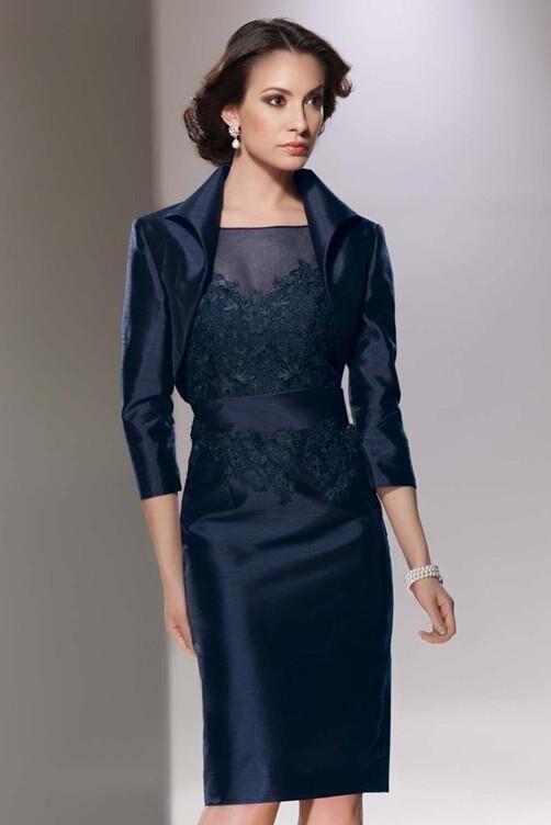 Темно-синие Элегантные аппликации платья для матери невесты с курткой рукава до колена костюм вечернее платье для мамы невесты vestidos