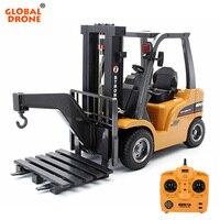 1/10 HUINA игрушки 1577 2,4 ГГц 8CH RC грузовик 2 в 1 RC погрузчик/строительный кран Радиоуправляемый трактор автомобиля