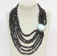 Selling Jewelry>>>Genuine baroque 16 21 6row 7mm black pearls necklace seashell clasp j10060