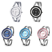 Hot Sale Women Lady Girl Round Rhinestones Round Watch Alloy Case Strap Reinforcement Clear Glass Plate(China)