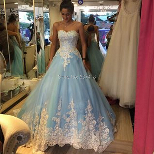 Light Blue Long Puffy Prom Dress With Lace Appliques Lace Up Back