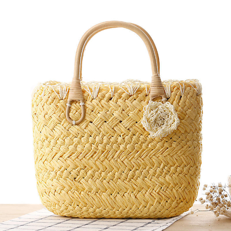 MISS YING 2017 Fashion Women Weave Straw Beach Bags Designer High Quality Shopping Totes Bag Ladies Cute Flower Traveling Bags
