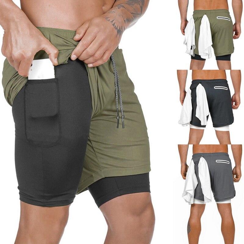 2019 2 Em 1 dos homens Calções Esportivos Calções Corredores Bolsos de Segurança Embutido Hip Invisível Bolsos Calções De Ginástica G0617