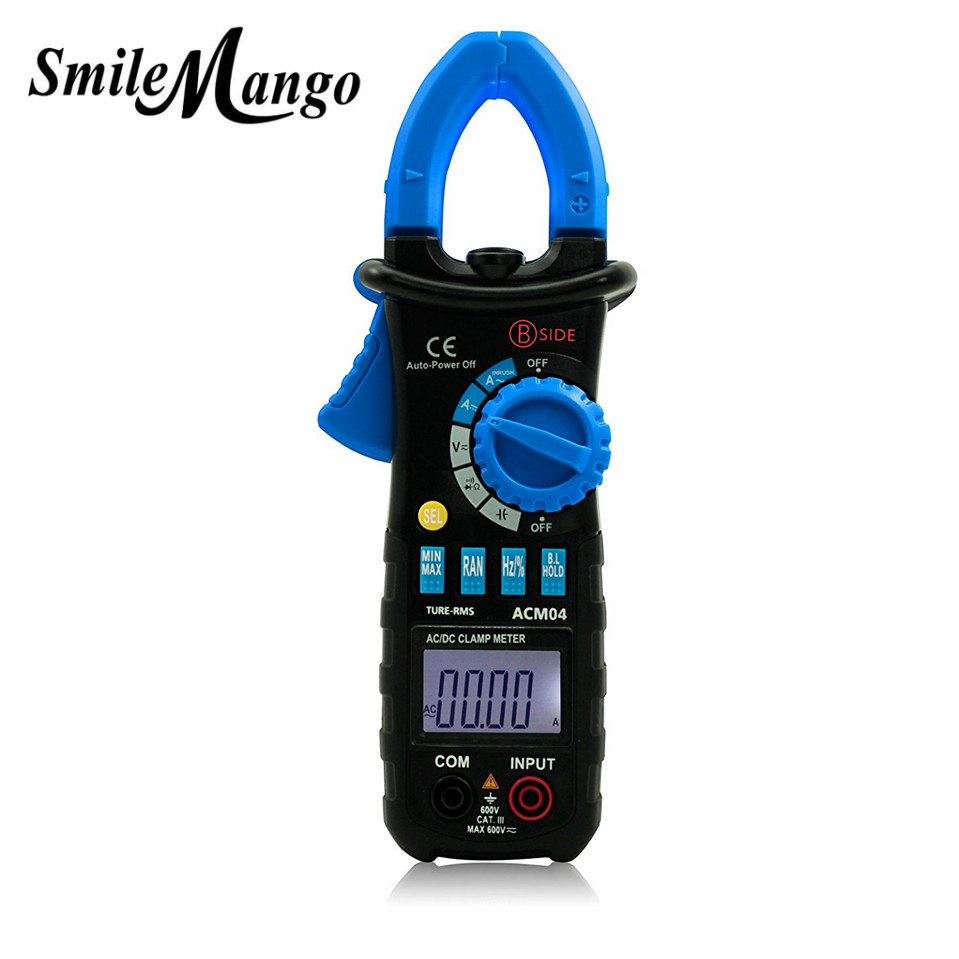 Bside ACM04 Auto Range 600A True RMS AC/DC Mini Digital Clamp Meter Multimeter Capacitance Frequency Inrush Current Test holdpeak hp870n auto range dc ac digital clamp meter multimeter pinza true rms frequency capacitance resistance meter backlight