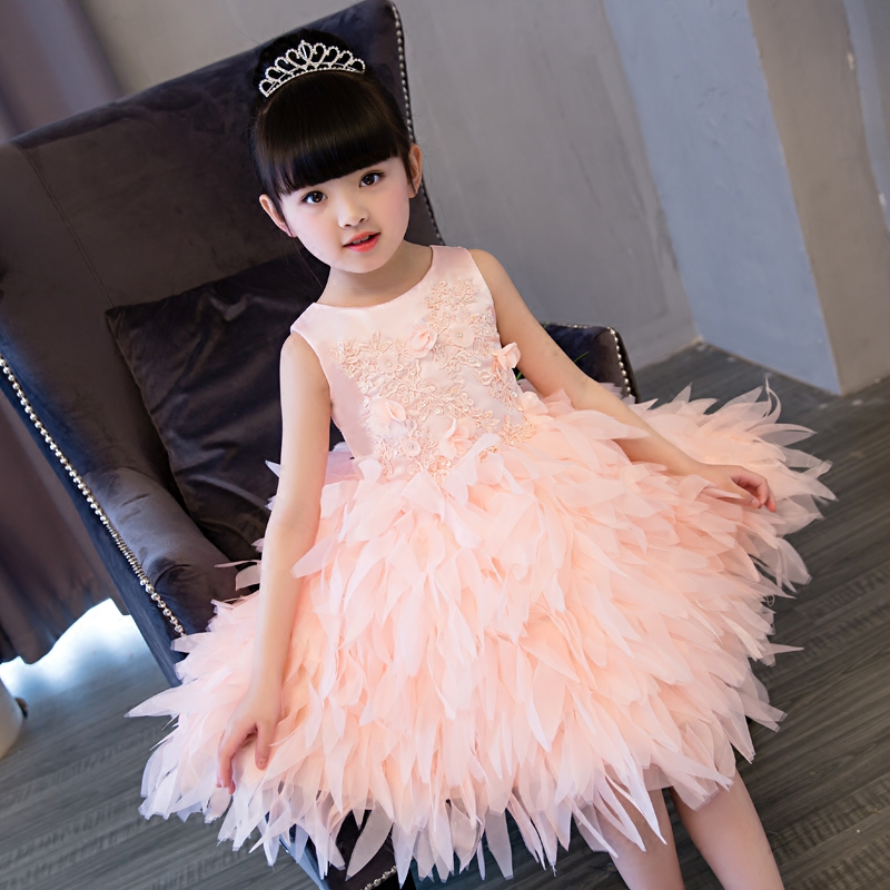 2017 New European Fashion Cutely Feathers Flower Girl Princess Dresses Children Kids Ball Gowns Birthday Pageant Party Dresses muqgew new fashion 2018 children party