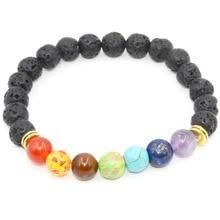 Vícebarevný náramek s lávovými kameny + 7 barevných čakrových kamenů