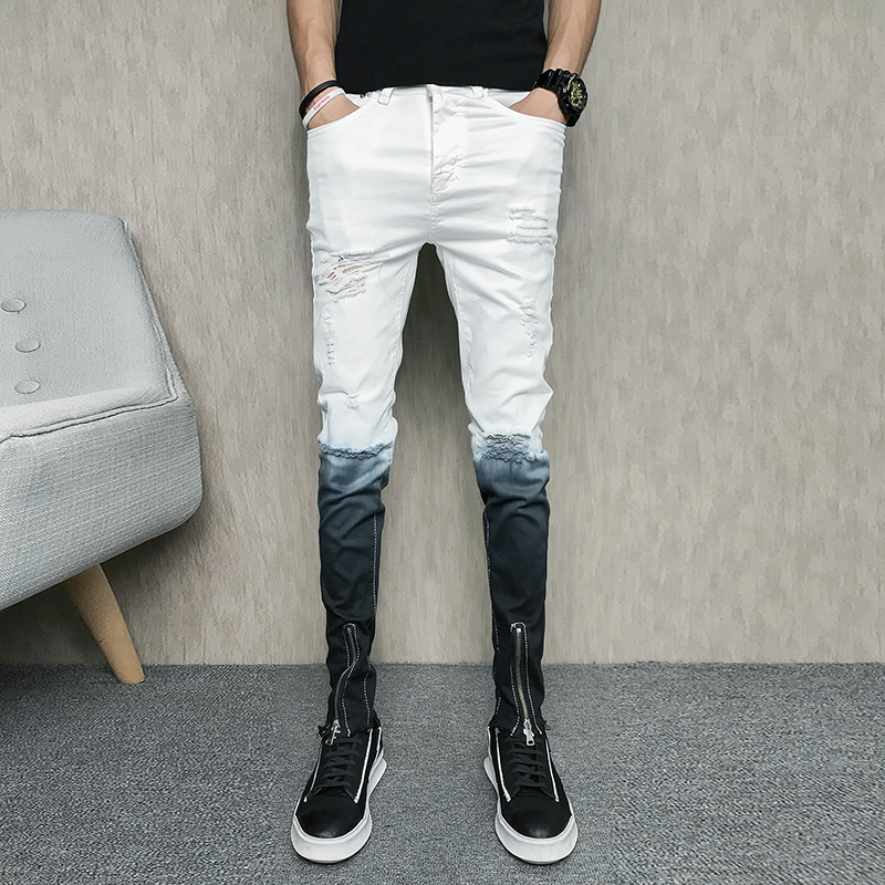 Personality Zipper Jeans Men Korean Summer Slim Fit Ripped Men Jeans Gradient Color Casual Jeans Homme White Denim Pants Men 33 ...
