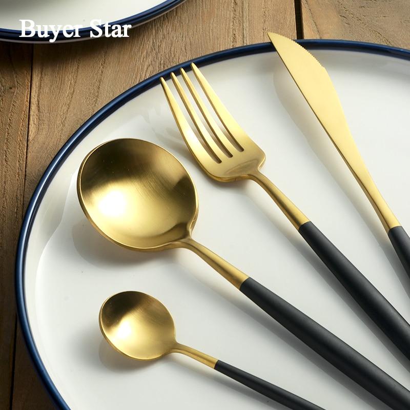 Luxury 24 Pcs Dinnerware Set Stainless Steel Black Handle Gold Cutlery Set Dinner Scoop Fork Knife Set Teaspoon Tableware For 6-in Dinnerware Sets from Home & Garden    3