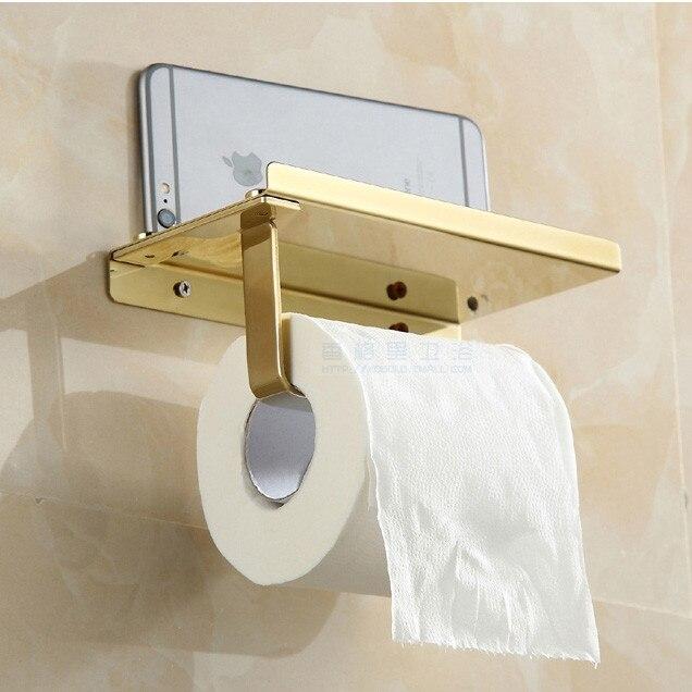Golden stainless steel wall mount bathroom tissue holder toilet paper holder for mobile phone - Wall mount headphone holder ...