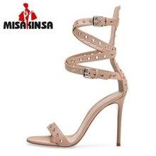 MISAKINSA 34-45 женские босоножки на высоком каблуке с открытым носком и пряжкой Туфли-гладиаторы Высокое качество стильная обувь женские Клубные обувь