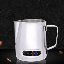 إبريق قهوة اسبريسو مصنوع من الفولاذ المقاوم للصدأ مع ميزان حرارة عملي 600 مللي باريستا مقياس للحرف إبريق قهوة لاتيه والحليب