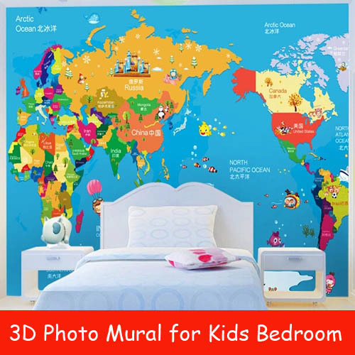 Buy world map 3d photo murals for kids for Blue world map mural