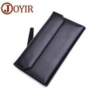JOYIR Hasp Brand Cow Leather Men Wallets Luxury Long Men Coin Purse Genuine Leather Card Holder Male Business Clutch Wallets