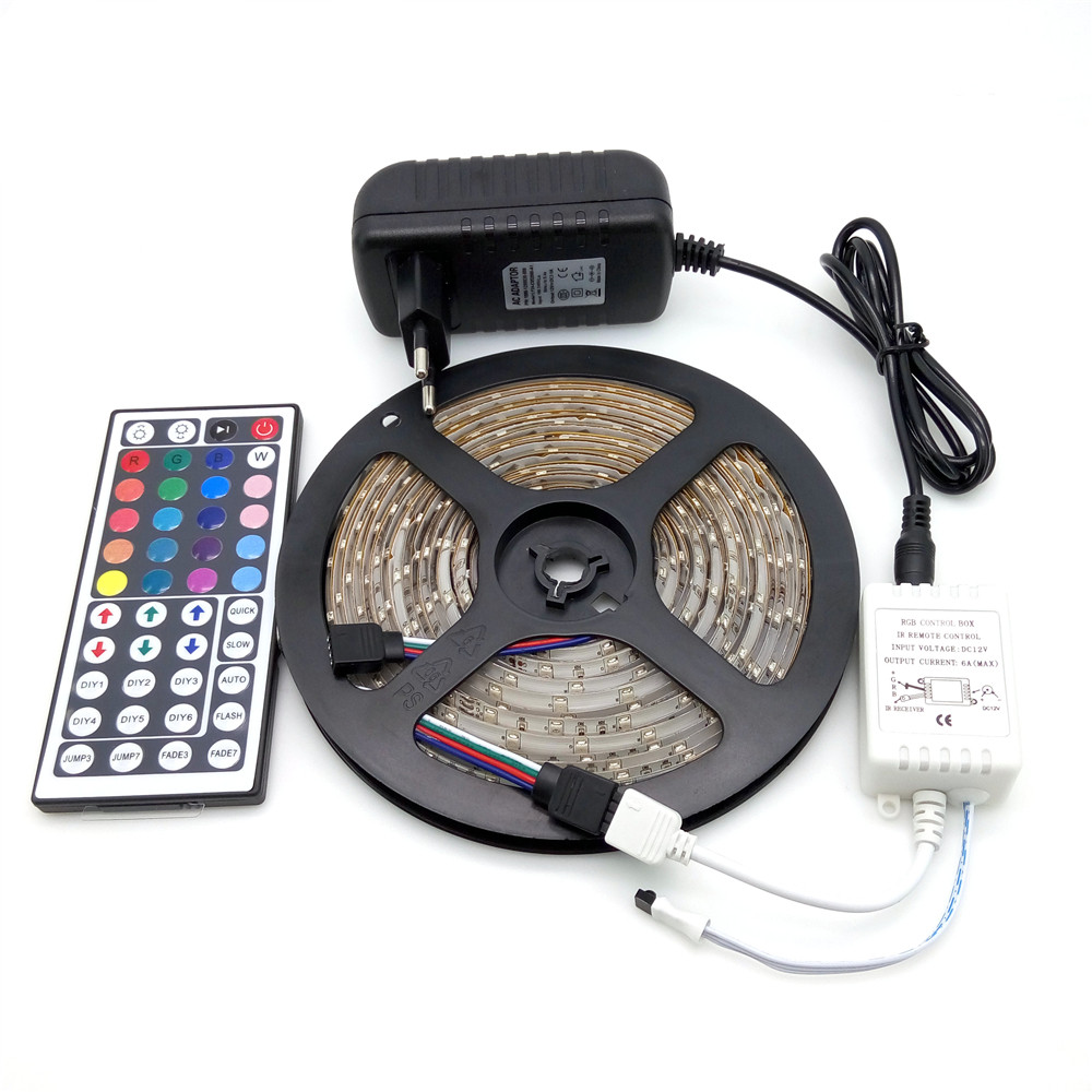 Waterproof LED Strip Light 3528 RGB 5M 300 LED Flexible Strip Light Set + 44Keys Remote Controller + 12V 3A Power Adapter waterproof 300 3528 smd led rgb flexible strip w 24 key controller 12v 5m