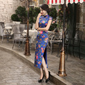 Charming Retro Chinese Women Autumn Winter Silk Satin Cheongsam Dress QiPao Long Party Wear Cheongsams Dresses for Women Lady