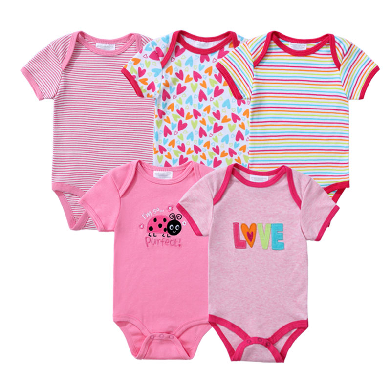 Baby   Rompers   5 Pcs/lot Newborn Baby Boy Girls Clothes Short Sleeve Baby Clothing Girl Roupa Infantil Body Bebes Jumpsuit