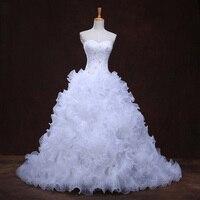 New arrival crystal lace appliques gelinlik sleeveless ruffled organza louisvuigon sweetheart real picture wedding dress 2017.jpg 200x200