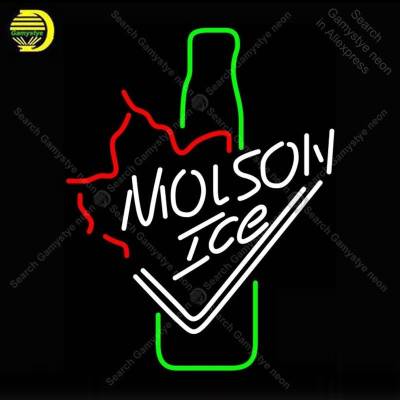 NEON SIGN For Molso Ice Bottle NEON Bulbs Sign Lamp GLASS Tube Decorate Beer Bar Room Handcraft Artwork Advertise neon lightNEON SIGN For Molso Ice Bottle NEON Bulbs Sign Lamp GLASS Tube Decorate Beer Bar Room Handcraft Artwork Advertise neon light