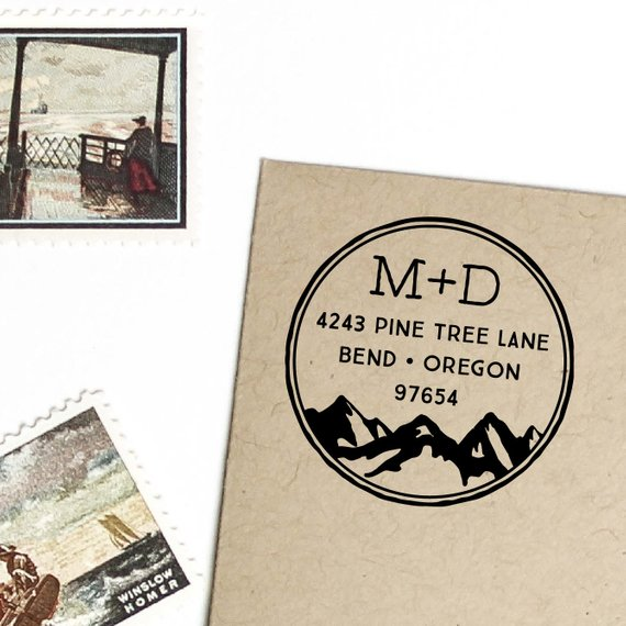 Us 15 12 11 Off Custom Wood Stamp Mountain Return Address Wood Rubber Stamp Personalized Initials Address Stamp Return Address Wood Stamp In