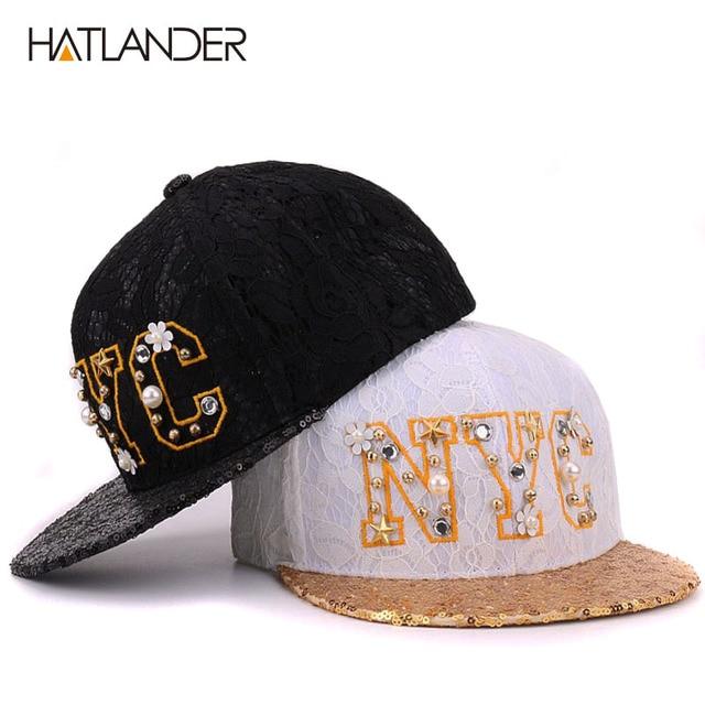 HATLANDER Luxury beaded letter NYC baseball caps for women snapbacks  feminimo flat brim hip hop cap lace cotton summer sun hats e552627da91