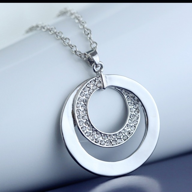 Silver plated necklace jewelry handmade pendant necklaces hammered silver plated necklace jewelry handmade pendant necklaces hammered silver two circle necklace for women men mozeypictures Gallery