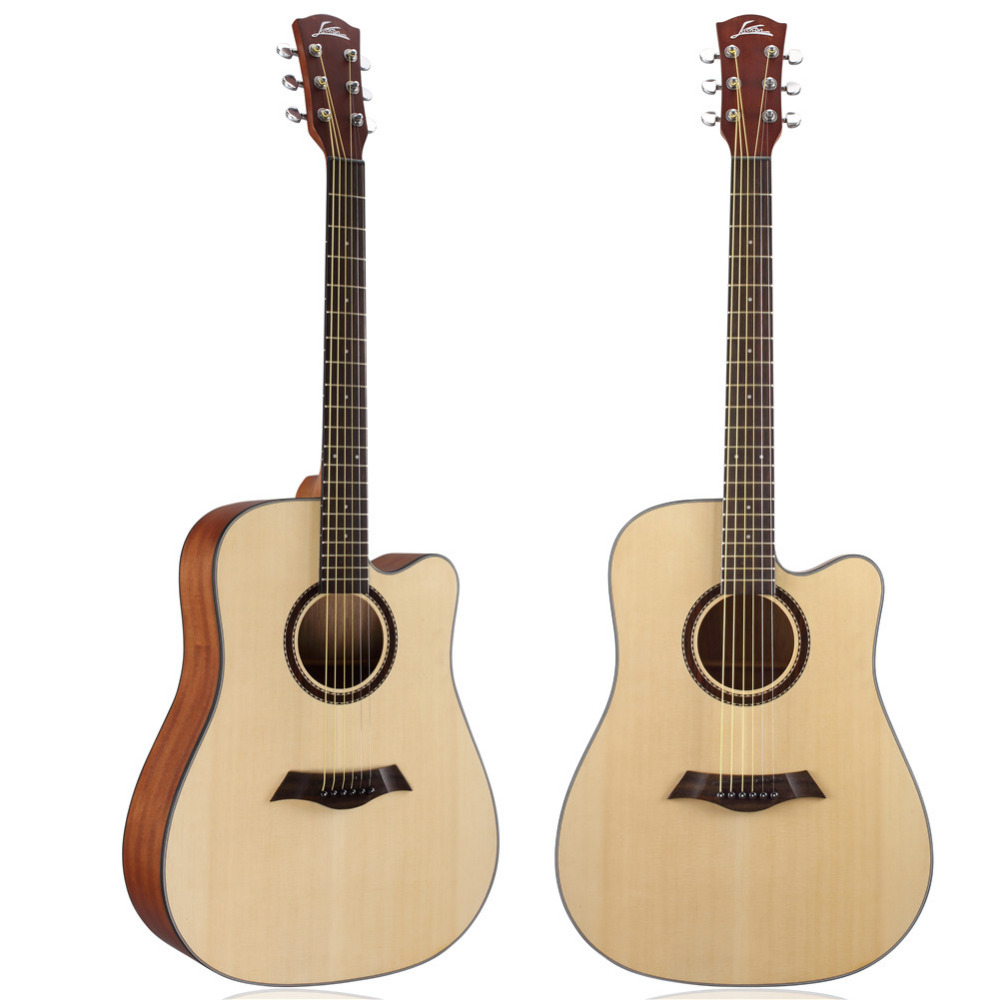 40 / 41 inch Spruce Notched Acoustic Guitar Picea Abies Rosewood Cutaway Guitarra 21 Tone Sapele wood Bottom Panel Instrument
