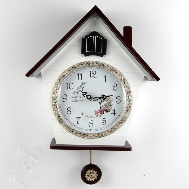 Children Room Wooden Wall Cuckoo Clock Log Cabin Photoswitchable  Timekeeping Kids Room Decoration