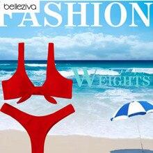 Belleziva 2019 New Women Knotted Padded Thong Bikini Mid Waisted Solid Color Scoop Neck Brazilian Swimsuit Beach Swimwear