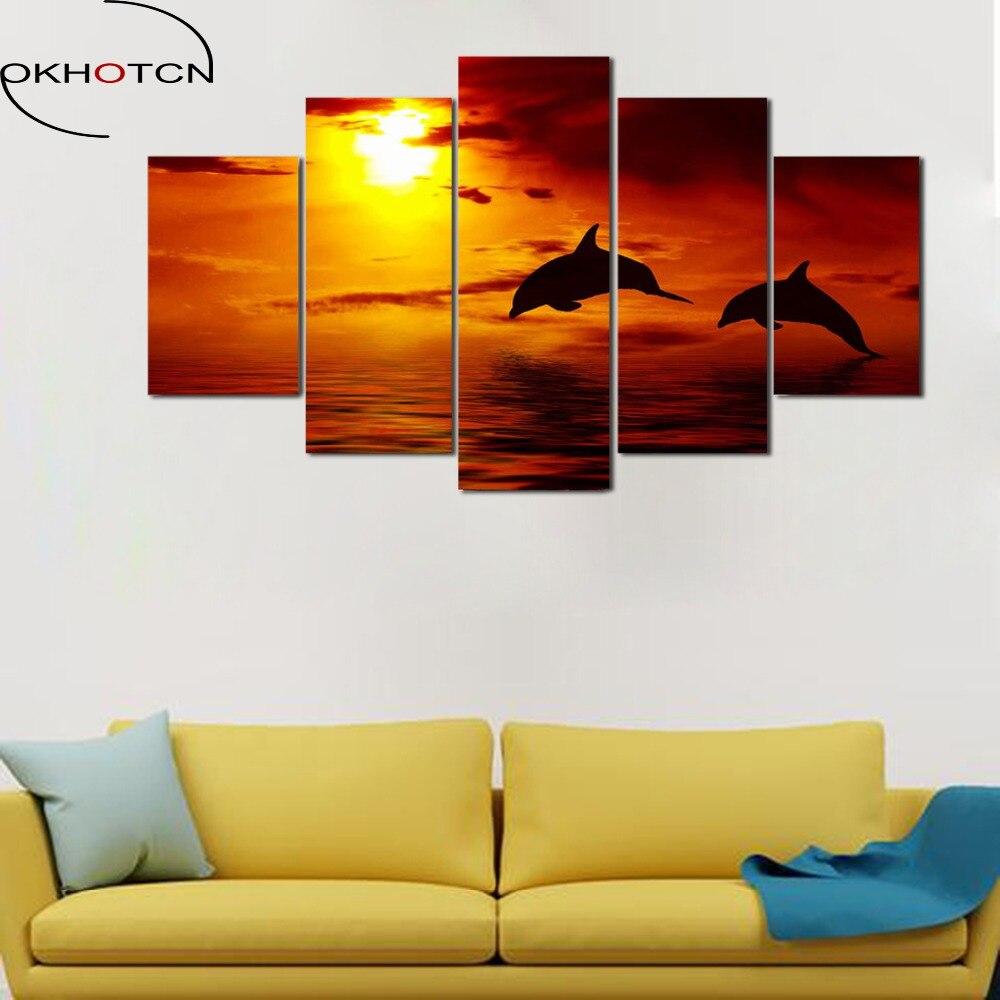 OKHOTCN 5 paneles pintura al óleo enmarcada océano puesta de ...