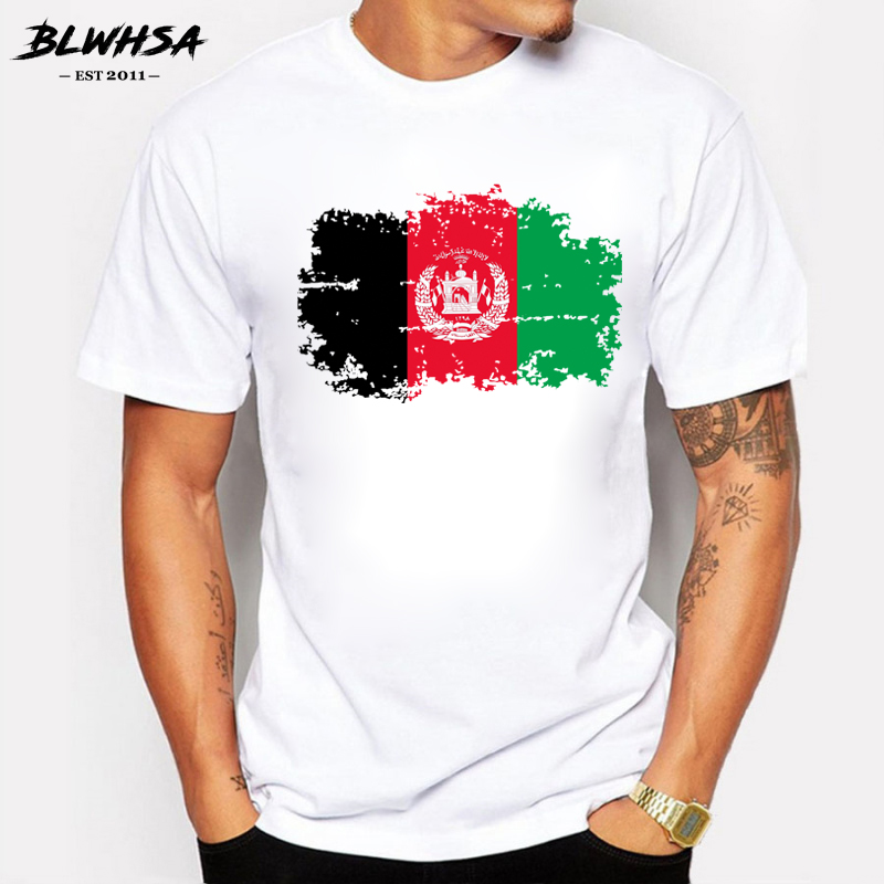 BLWHSA <font><b>Afghanistan</b></font> Flag T shirts Men Summer Short Sleeve Cotton Nostalgia T-shirts For Men Fans Cheer Tops Tees image