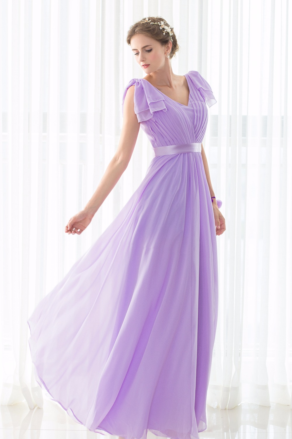 100% Real Pictures Bridesmaid Dresses Long Lilac Sleeveless Deep V ...