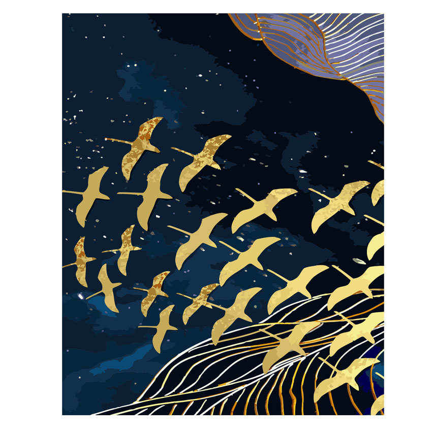 RIHE Flying Birds Diy Oil Painting By Numbers Kits Animal Wall Art Picture Home Decor Abstract Acrylic Paint On Canvas For Arts