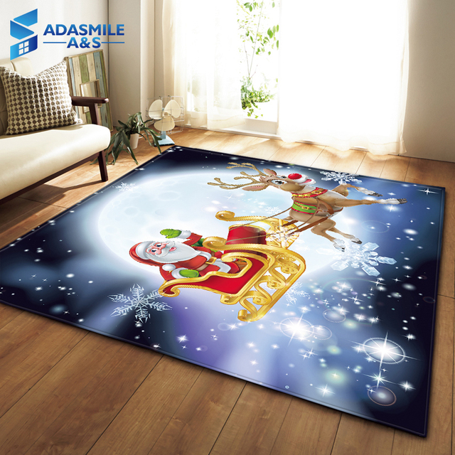 Christmas Party Decoration Rugs 3d Santa Claus Carpets Kids Room