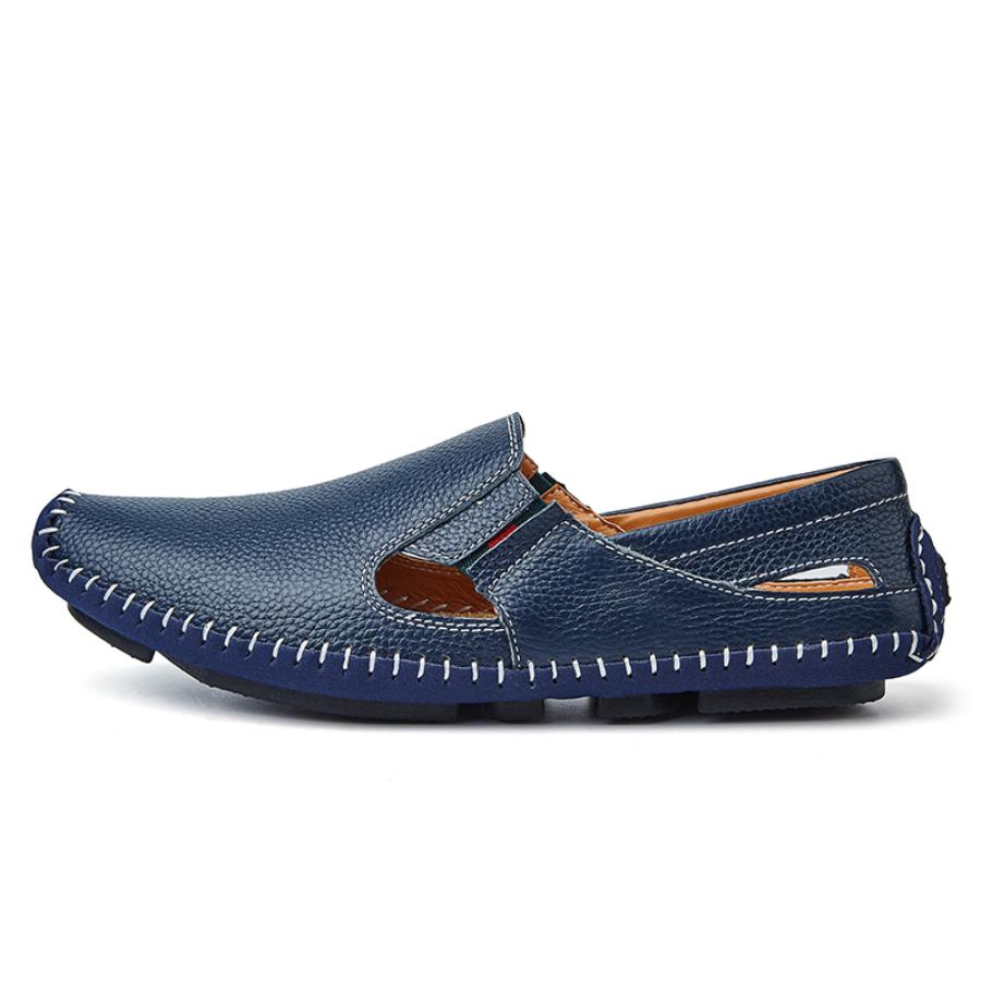 Queixiw Men Leather Driving Shoes Plus Size 45 46 47 Casual Slip-on Summer Shoes 5 Colors Size 38-47 Blue 12