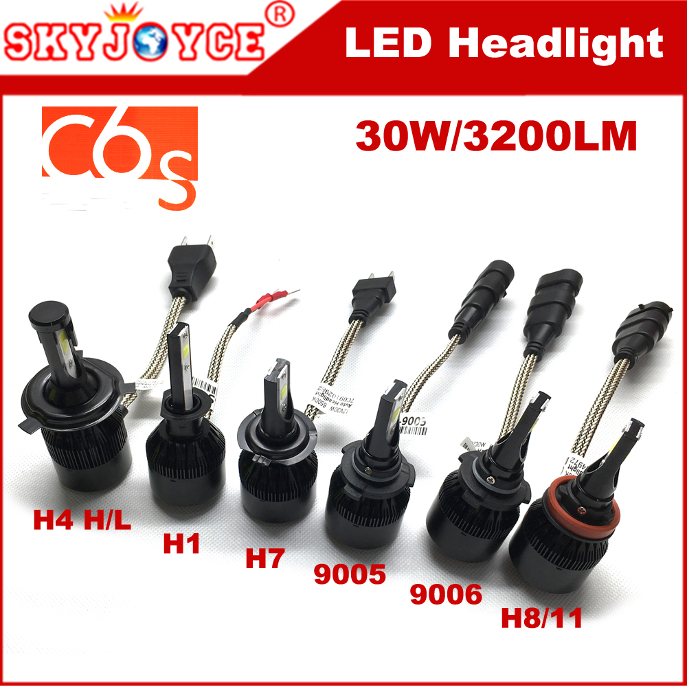 SKYJOYCE C6S H7 led headlight H1 H3 H8 H11 9005 9006 9012 H13 Car LED Headlight Bulbs H4 hi lo better than C6 auto headlamp LED доска для объявлений dz 1 2 j8b [6 ] jndx 8 s b