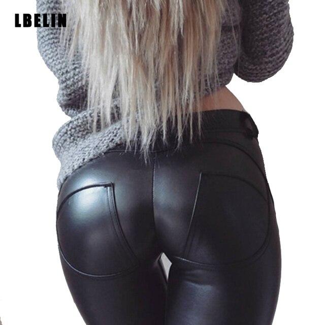 Las mujeres 2016 de La Moda de Invierno Sexy Flaco Faux Leather Leggings Sexy Push Up Polainas de Las Mujeres Negro Leggings Delgado Pantalones Jeggings