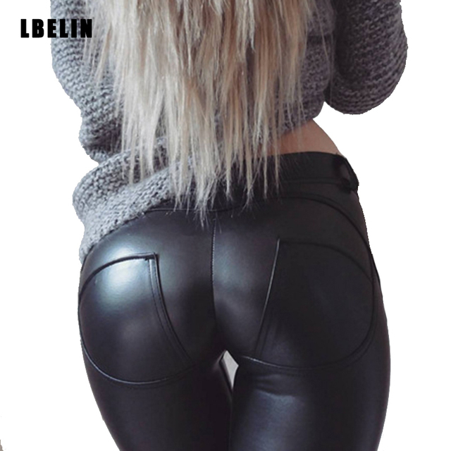 Women 2016 Fashion Winter Sexy Skinny Faux Leather Leggings Sexy Push Up Leggings Women Black Leggings Slim Jeggings Trousers