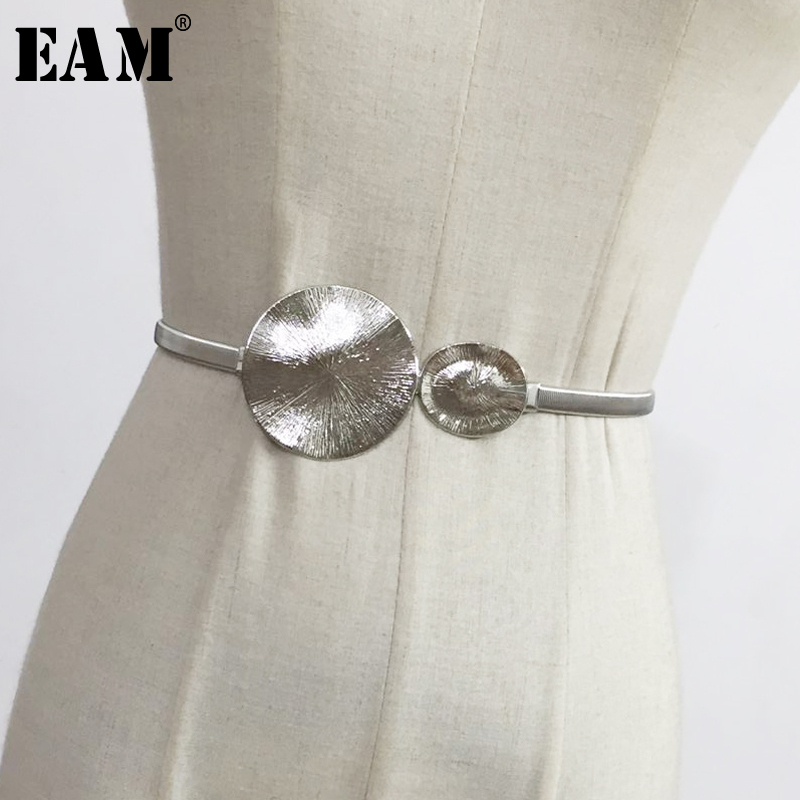 [EAM] 2020 New Spring Summer Metal Circle Split Joint Round Personality Elastic Belt Women Fashion Tide All-match JU46008
