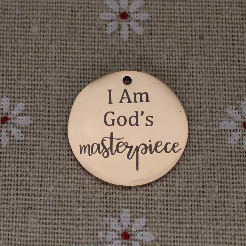 Ladyfun Customizable Stainless Steel Charm Jesus Christ Pendant I am God 39 s Masterpiece Charms for jewelry making in Charms from Jewelry amp Accessories