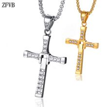 ZFVB Religious Crystal Cross Necklace Women Men Stainless Steel Fast and the Furious 8 Pendant Necklaces Jewelry For Gift