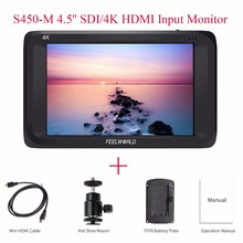 Feelworld S450-M 4.5» SDI/4K HDMI Input On-Camera Monitor Full HD Screen Video Display 3G-SDI Output Video Monitor for Camera