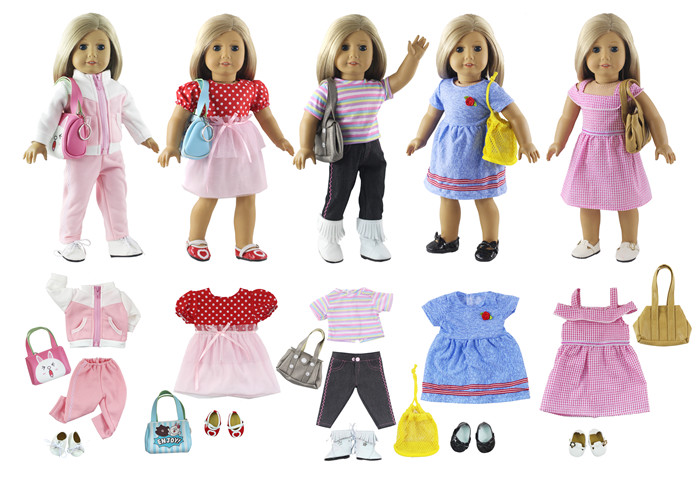 Lot 17 Item=5 Set Doll Clothes+5 Pair Shoes+5 Pieces Bag+2 Pair Socks for 18 Inch American Girl Doll Handmade Casual Wear Outfit american girl doll clothes 4 styles elsa blue lace princess dress doll clothes for 16 18 inch dolls baby doll accessories x 2