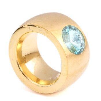 39af1642f543 Hombres y mujeres de oro de Color de acero inoxidable CZ piedra anillos  personalidad anillo