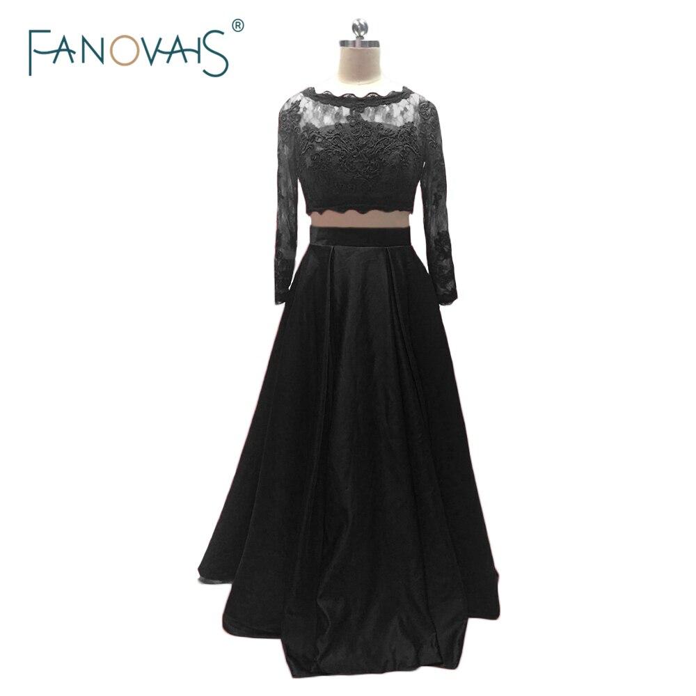 Ido bridal Fashionable 2016 Scoop A-Line Two Pieces Appliques Satin Black Evening Dresses Long Vestido de fiesta Evening Prom Gown ASAE30