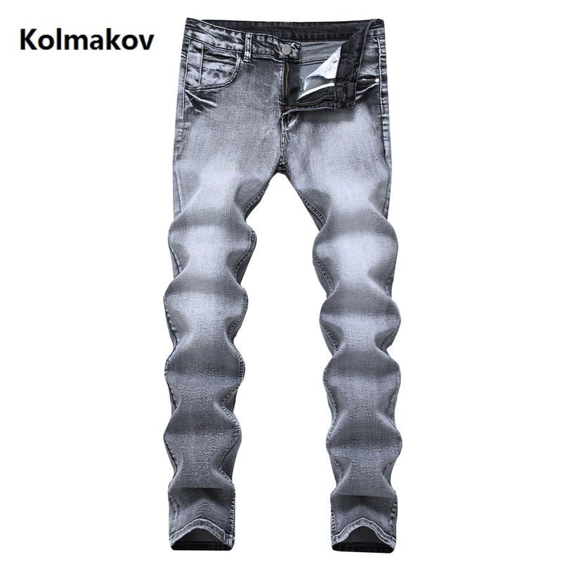 2019 Frühling Jeans Männer Mode Grau Gerade Designer Denim Dünne Jeans Baumwolle Herren Business Männer Hosen Größe 28- 42