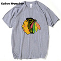 Chicago Blackhawks camisa T 2017 uma paródia do blackhawks logotipo com o rosto u todo o amor camiseta top de Manga Curta Tees