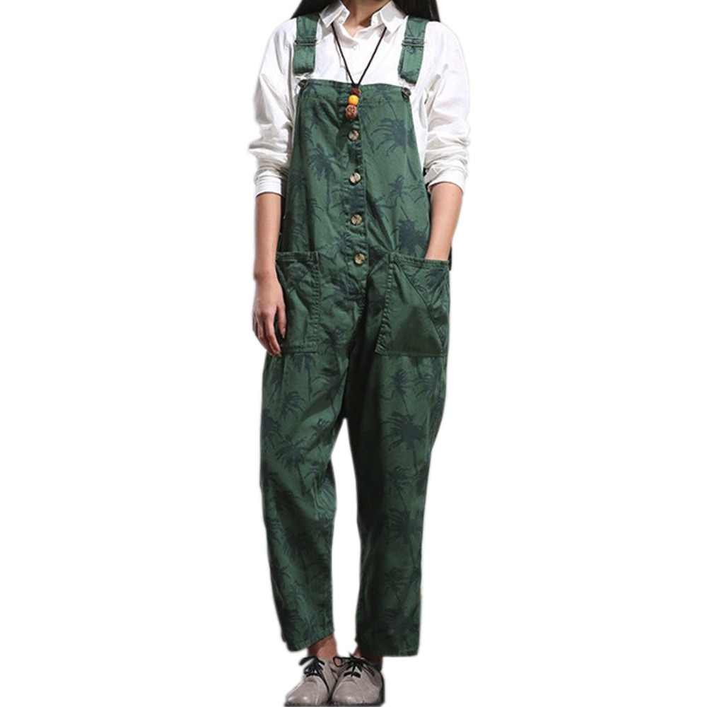 d28392cac19d Women s Casual Printed Baggy Trousers Wide Leg Dungarees Romper Jumpsuit  Playsuit