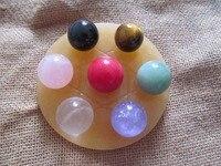 Natural yellow topaz crystal ball seven matrix decoration lucky evil spirits 100MM stand