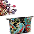 Woweino Multifunctional Portable Women Vintage Flowers Pattern Makeup Bag Storage Organizer Beauty Case Travel Pouch Comestic