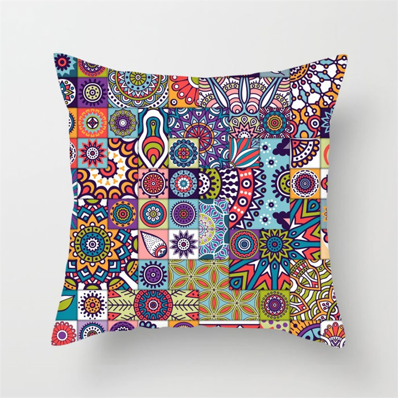 Fuwatacchi Regular Geometry Painting Cushion Covers Color Print Pillow Cases Cotton For Car Home Sofa Decoration